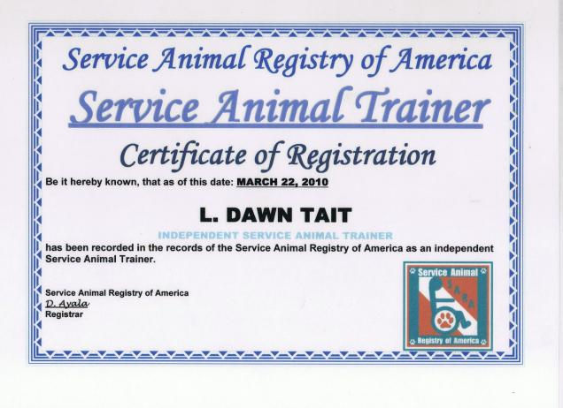 Your html snippet for Service animal certificate template
